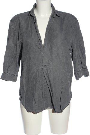Zara Woman Kurzarm-Bluse silberfarben Casual-Look