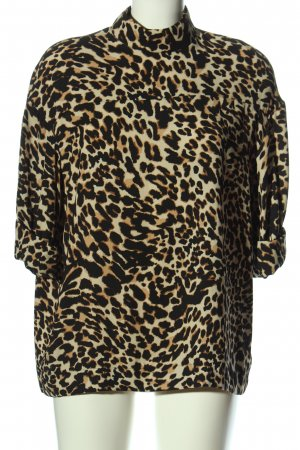 Zara Woman Kurzarm-Bluse Leomuster Casual-Look