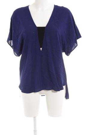 Zara Woman Kurzarm-Bluse blau Casual-Look