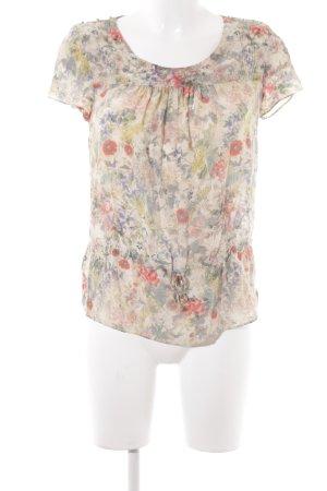 Zara Woman Kurzarm-Bluse Blumenmuster Romantik-Look