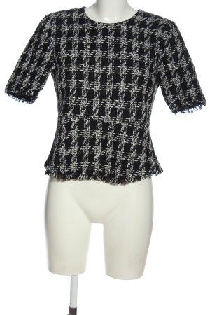 Zara Woman Kurzarm-Bluse schwarz-weiß Karomuster Casual-Look