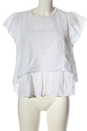 Zara Woman Kurzarm-Bluse weiß Allover-Druck Casual-Look