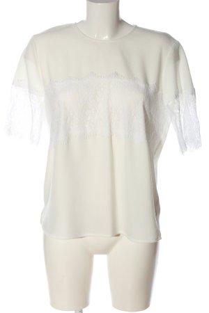 Zara Woman Kurzarm-Bluse creme-weiß Webmuster Casual-Look