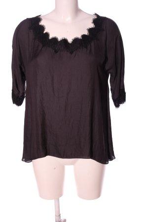Zara Woman Kurzarm-Bluse lila-schwarz Casual-Look
