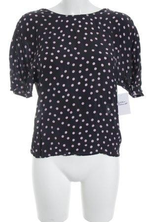 Zara Woman Kurzarm-Bluse dunkelblau Punktemuster Rockabilly-Look