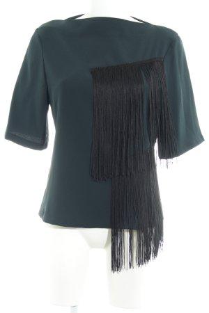 Zara Woman Kurzarm-Bluse dunkelgrün Casual-Look