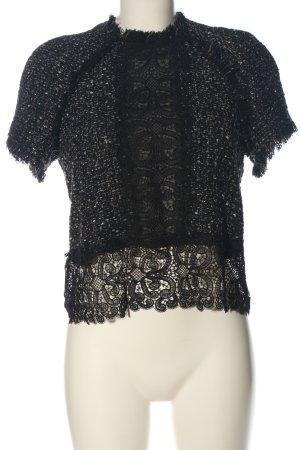 Zara Woman Kurzarm-Bluse schwarz-weiß meliert Casual-Look