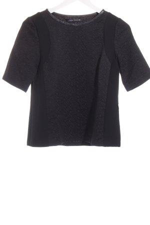 Zara Woman Kurzarm-Bluse schwarz Spitzen-Optik