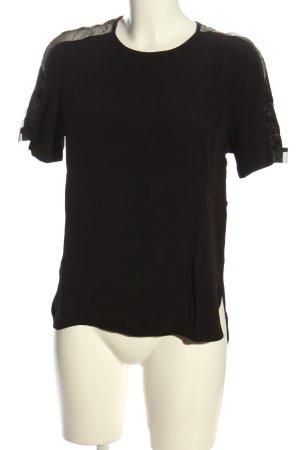 Zara Woman Kurzarm-Bluse schwarz Streifenmuster Casual-Look