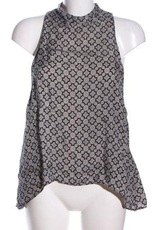 Zara Woman Kurzarm-Bluse schwarz-weiß Allover-Druck Business-Look