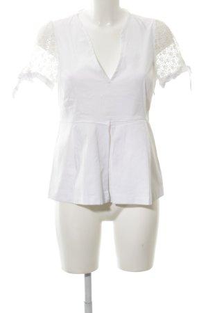 Zara Woman Kurzarm-Bluse weiß Business-Look