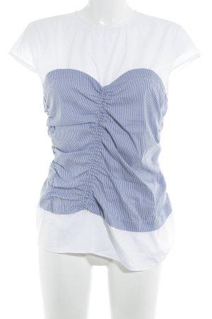 Zara Woman Kurzarm-Bluse weiß-stahlblau Streifenmuster Casual-Look