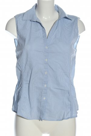 Zara Woman Camicia a maniche corte blu-bianco motivo a righe stile casual