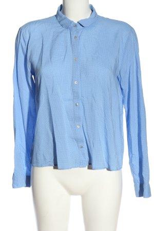 Zara Woman Kurzarmhemd blau-weiß Punktemuster Business-Look
