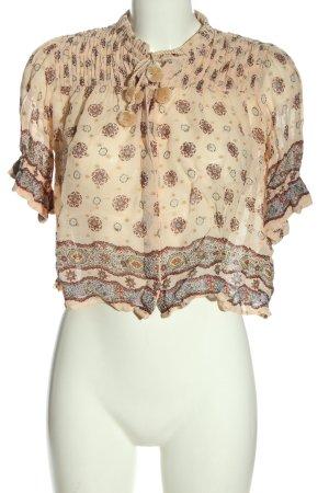 Zara Woman Kurzarmhemd creme-braun Allover-Druck Casual-Look