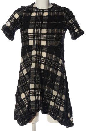 Zara Woman Kurzarmkleid schwarz-wollweiß Karomuster Casual-Look