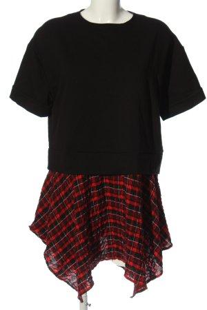 Zara Woman Kurzarmkleid schwarz-rot Karomuster Casual-Look