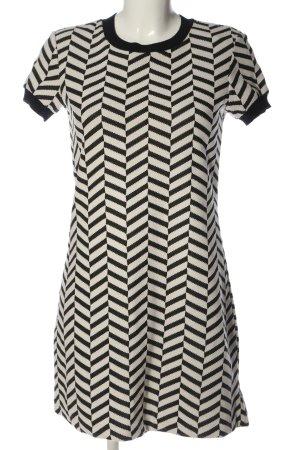Zara Woman Kurzarmkleid wollweiß-schwarz Allover-Druck Casual-Look