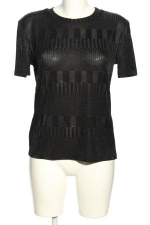 Zara Woman Kurzarmpullover schwarz grafisches Muster Casual-Look