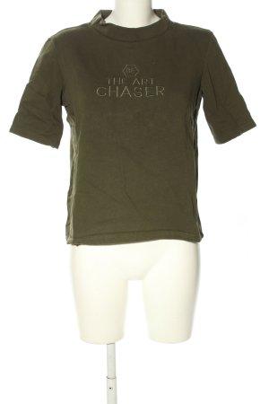 Zara Woman Kurzarmpullover khaki Schriftzug gedruckt Casual-Look