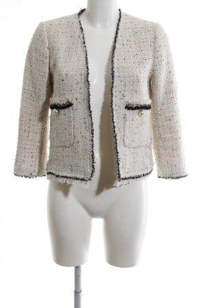 Zara Woman Kurzjacke wollweiß-schwarz Webmuster Business-Look