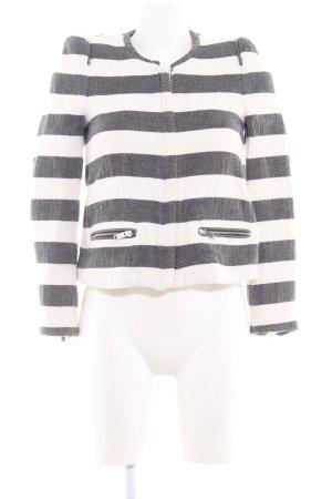 Zara Woman Kurzjacke anthrazit-wollweiß Streifenmuster Casual-Look