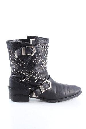 Zara Woman Botas bajas negro-color plata look casual