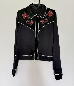 Zara Woman langärmelige exotische Bluse mit Blümchen Stickerei schwarz Gr.XS 34