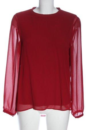 Zara Woman Langarm-Bluse rot Business-Look
