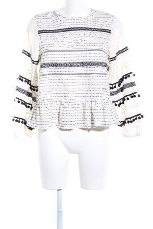 Zara Woman Langarm-Bluse weiß-schwarz grafisches Muster Casual-Look