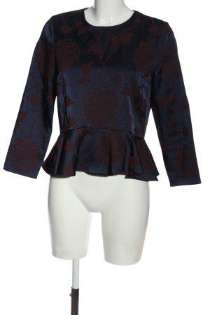 Zara Woman Langarm-Bluse blau-rot Allover-Druck Casual-Look