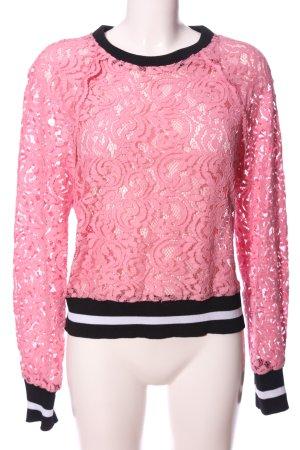 Zara Woman Langarm-Bluse pink-schwarz Casual-Look