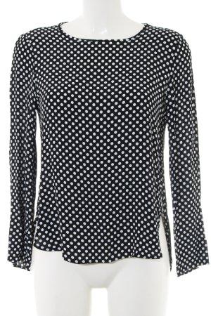 Zara Woman Langarm-Bluse schwarz-weiß Allover-Druck Casual-Look