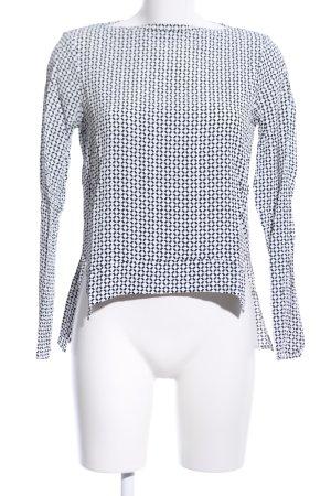 Zara Woman Langarm-Bluse weiß-schwarz Allover-Druck Casual-Look