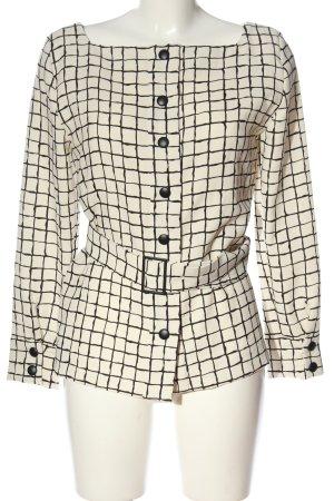 Zara Woman Langarm-Bluse schwarz-wollweiß Karomuster Casual-Look