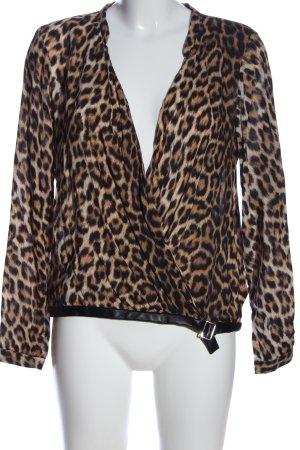 Zara Woman Langarm-Bluse Leomuster Casual-Look