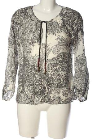 Zara Woman Langarm-Bluse creme-schwarz abstraktes Muster Casual-Look
