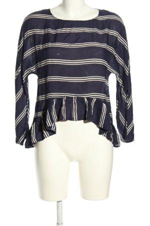 Zara Woman Langarm-Bluse blau-weiß Allover-Druck Casual-Look