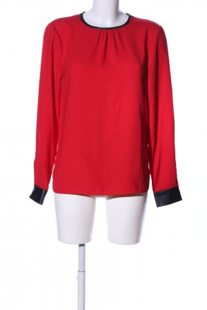 Zara Woman Langarm-Bluse rot-schwarz Business-Look