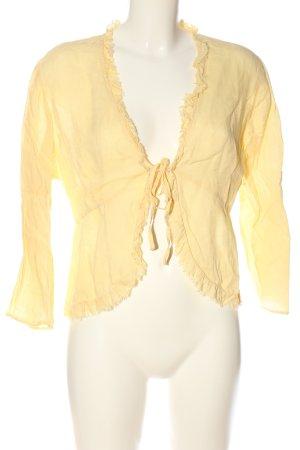 Zara Woman Langarm-Bluse blassgelb Casual-Look