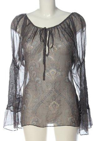 Zara Woman Langarm-Bluse braun abstraktes Muster klassischer Stil