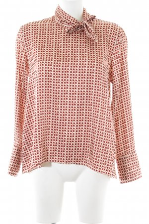 Zara Woman Langarm-Bluse braun-rot abstraktes Muster Business-Look