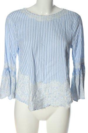 Zara Woman Langarm-Bluse weiß-blau Allover-Druck Casual-Look