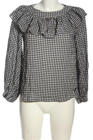 Zara Woman Langarm-Bluse schwarz-weiß Karomuster Casual-Look