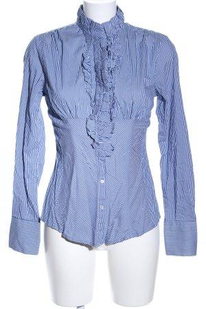 Zara Woman Langarm-Bluse blau-weiß Allover-Druck Business-Look