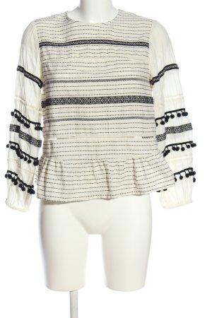 Zara Woman Langarm-Bluse weiß-schwarz Streifenmuster Casual-Look