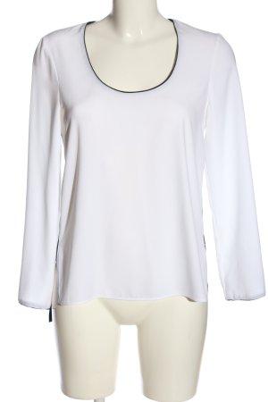 Zara Woman Langarm-Bluse weiß-schwarz Casual-Look