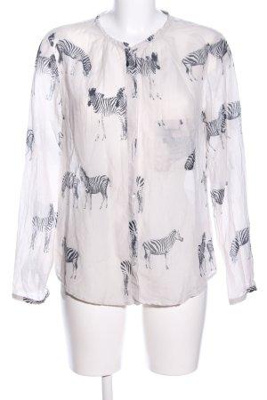 Zara Woman Langarm-Bluse wollweiß-schwarz Allover-Druck Casual-Look
