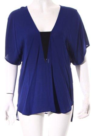 Zara Woman Langarm-Bluse dunkelblau-schwarz Casual-Look