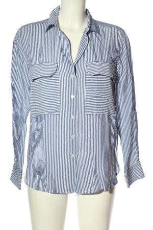 Zara Woman Langarm-Bluse blau-weiß Streifenmuster Business-Look